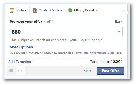Facebook Offer no Promote Later Option