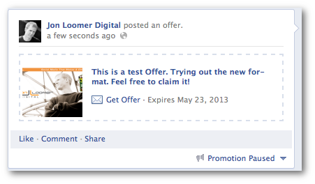 Facebook Offer Test