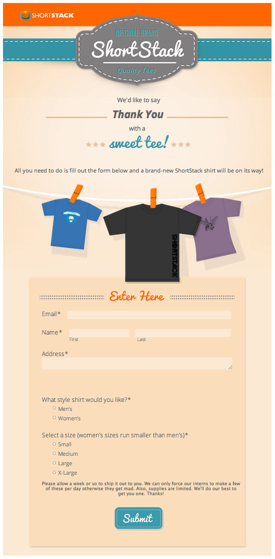 ShortStack t-shirt App