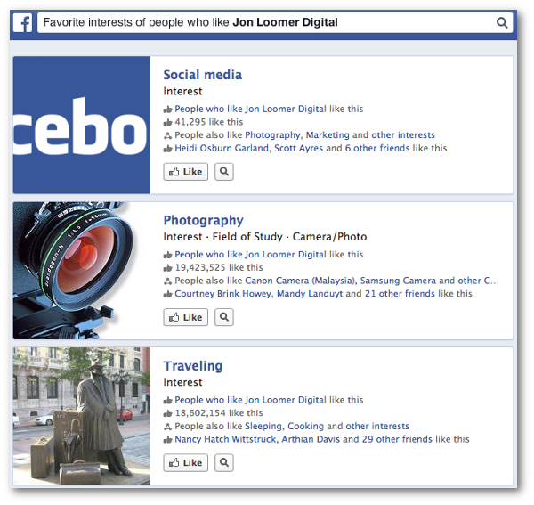 Facebook Graph Search Favorite Interests