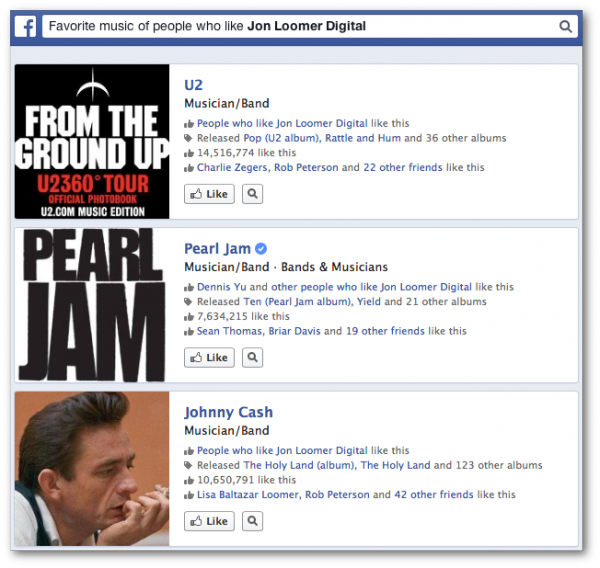 Facebook Graph Search Favorite Music