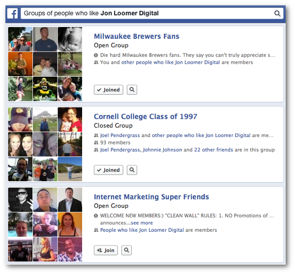 Facebook Graph Search Groups