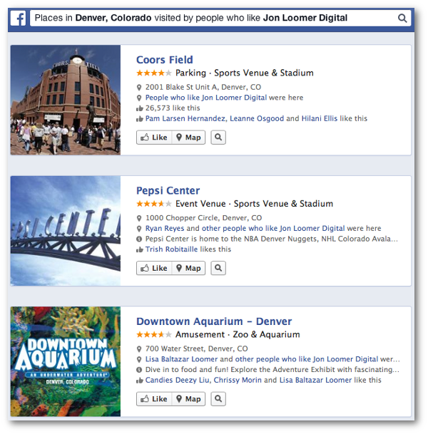 Facebook Graph Search Places