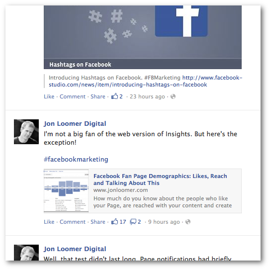 Facebook Hashtags Filtering