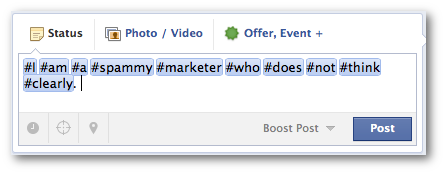 Facebook Hashtags Overuse