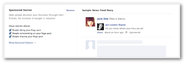Facebook Sponsored Stories Self Serve Ad Tool