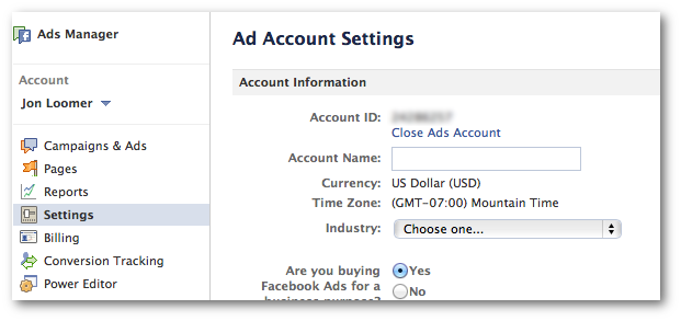 Facebook Ads Account Settings