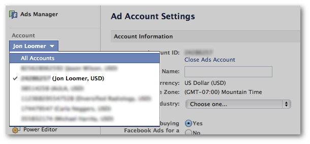 Facebook Ads Manager Ad Accounts