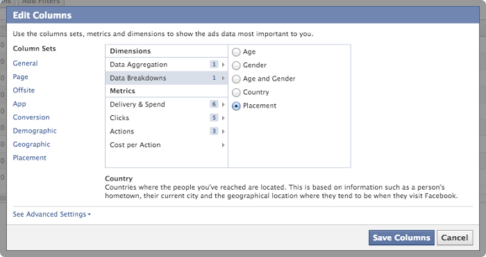 Facebook Ads Reporting Edit Columns