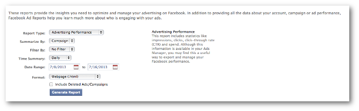 facebook ads reporting old Facebook Ads Reports: A Tour of a Powerful New Tool