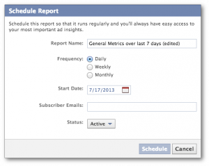 Facebook Ads Reporting Schedule Report