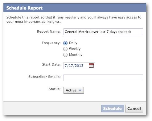 facebook ads reporting schedule report Facebook Ads Reports: A Tour of a Powerful New Tool