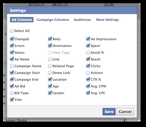 Facebook Power Editor Ad Columns