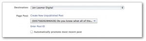 Facebook Power Editor Ad Page Post