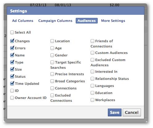 Facebook Power Editor Audience Columns