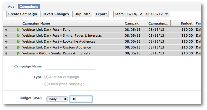 Facebook Power Editor Bulk Edit Campaigns
