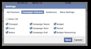 Facebook Power Editor Edit Campaign Columns
