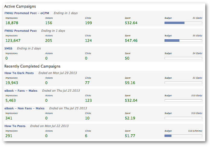 Facebook Power Editor Campaign Dashboard