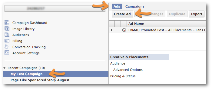 Facebook Power Editor Create Ad