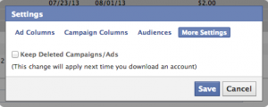 Facebook Power Editor Deleted Campaigns