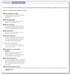 Facebook Power Editor Email Notifications