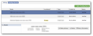 Facebook Power Editor Funding Sources