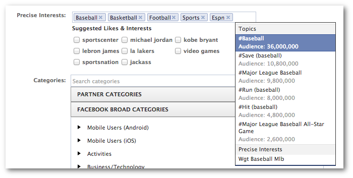 Facebook Power Editor Precise Interests Targeting