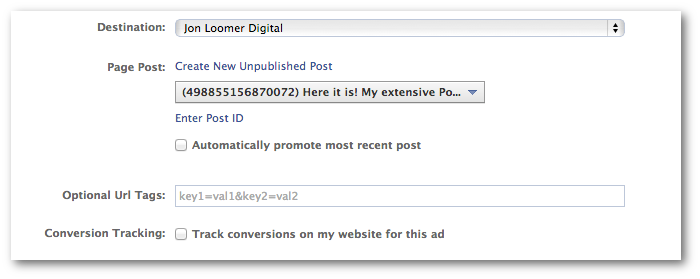 Facebook Power Editor Promoted Post Select