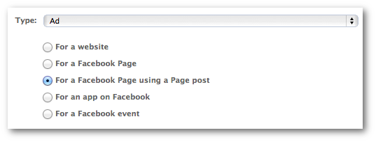 Facebook Power Editor Promoted Post Type