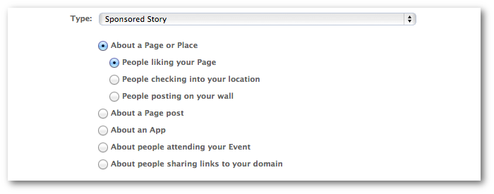 Facebook Power Editor Sponsored Story Page or Place
