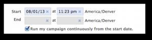Facebook Power Editor Start End Dates