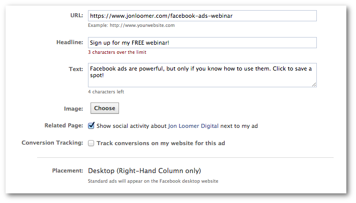 Facebook Power Editor Website Ad