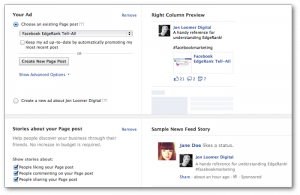 Facebook Self-Serve Ad Tool Ad Preview