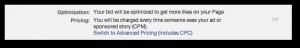 Facebook Self-Serve Ad Tool Page Likes Optimization
