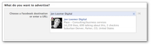 Facebook Self-Serve Ad Tool Select Page