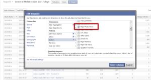 Facebook Ad Reports Edit Columns