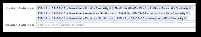 Facebook Power Editor Advanced Options Lookalike Audiences