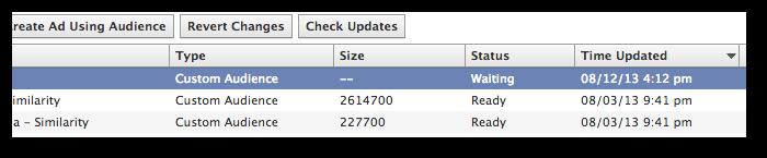 Facebook Power Editor Custom Audiences Status