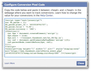 Facebook Power Editor Configure Conversion Pixel Code