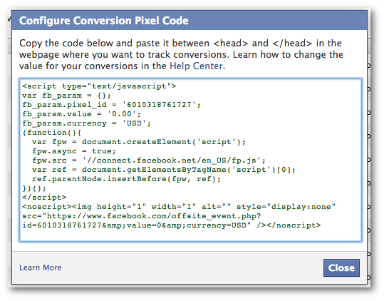 Facebook Power Editor Configure Conversion Pixel Code
