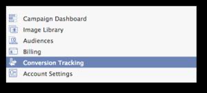 Facebook Power Editor Conversion Tracking Menu