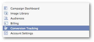 Facebook Power Editor Conversion Tracking Menu