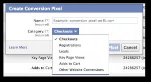 Facebook Power Editor Create Conversion Pixel Form
