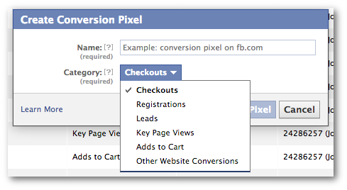 Facebook Power Editor Create Conversion Pixel Form