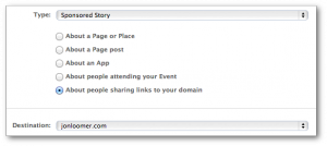 Facebook Power Editor Create Domain Sponsored Story