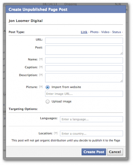 facebook power editor create new unpublished post form 424x525 Facebook Ads and Power Editor: Comprehensive Glossary of Terms