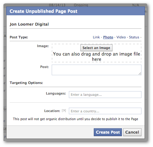 Facebook Power Editor Create New Unpublished Post Photo