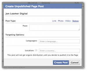 Facebook Power Editor Create New Unpublished Post Status