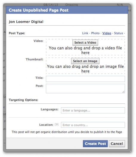 Facebook Power Editor Create New Unpublished Post Video