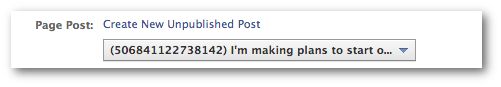 Facebook Power Editor Create New Unpublished Post